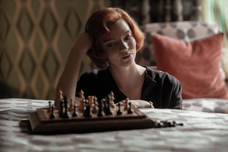 Anya Taylor-Joy plays chess as Beth Harmon in 'The Queen's Gambit' via Netflix Press Site