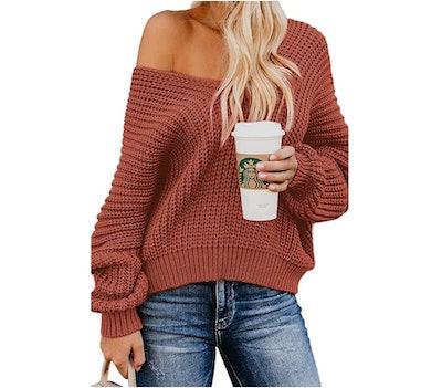Bdcoco Off-the-Shoulder V-Neck Sweater