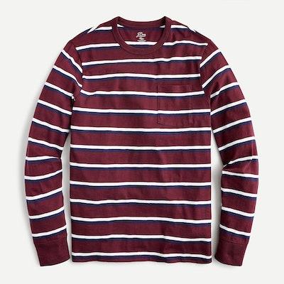 J.Crew Long-Sleeve Slub Cotton Pocket T-Shirt