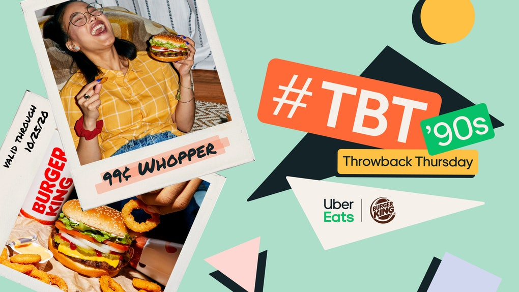 Uber Eats' Throwback Thursday Burger King deal is a deep discount.