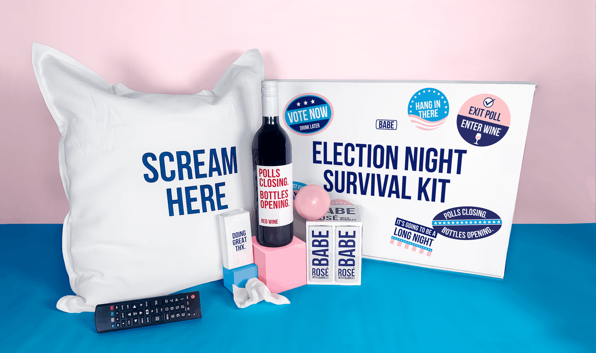 BABE Wine's Election Night Survival Kit features a pillow to scream into, wine, tissues, and more.