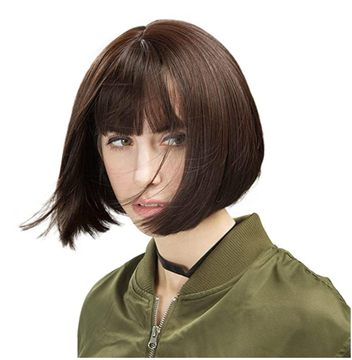 "REECHO 11"" Short Bob Wig with Bangs Synthetic Hair Color: Dark brown"
