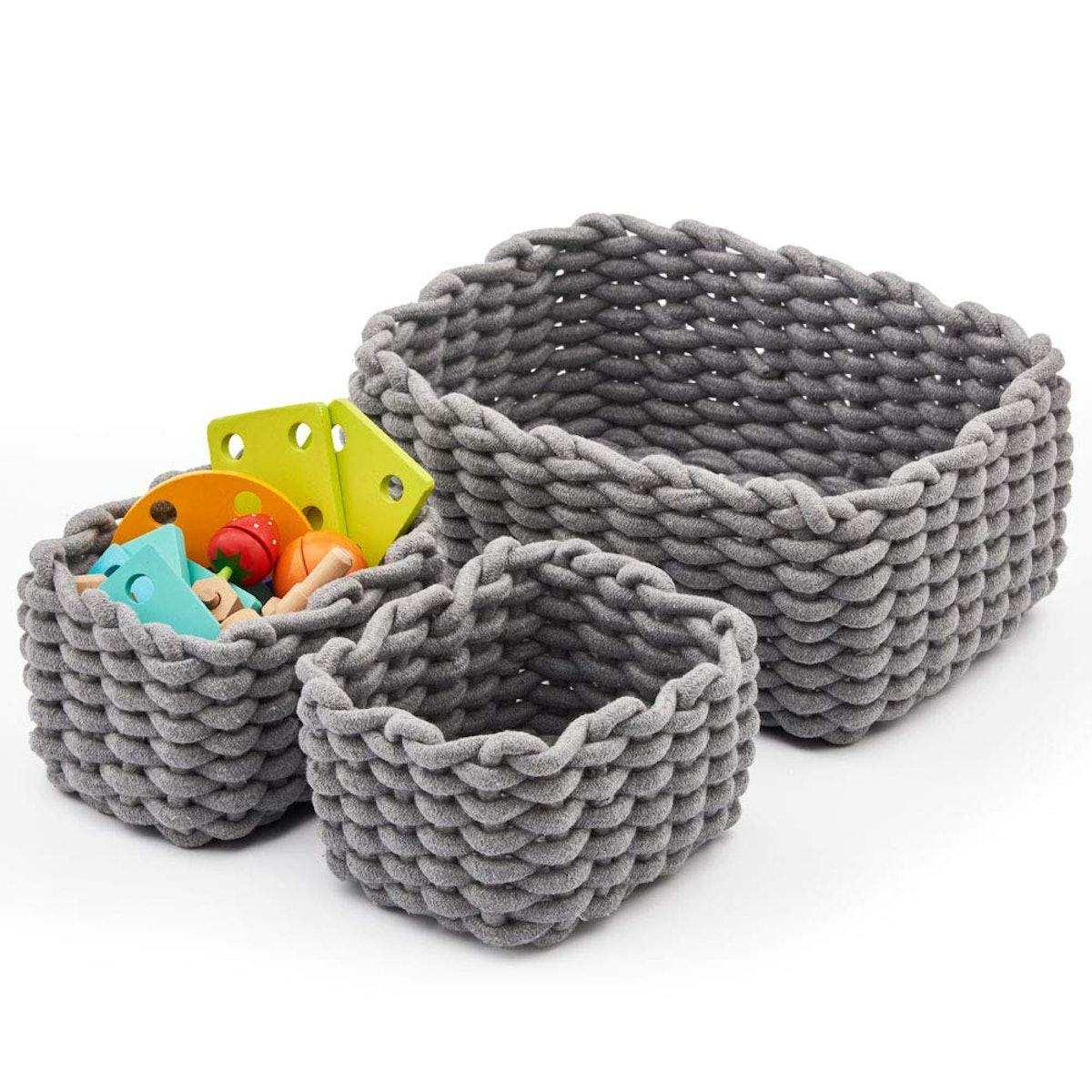 EZOWare Cotton Rope Baskets (Set of 3)