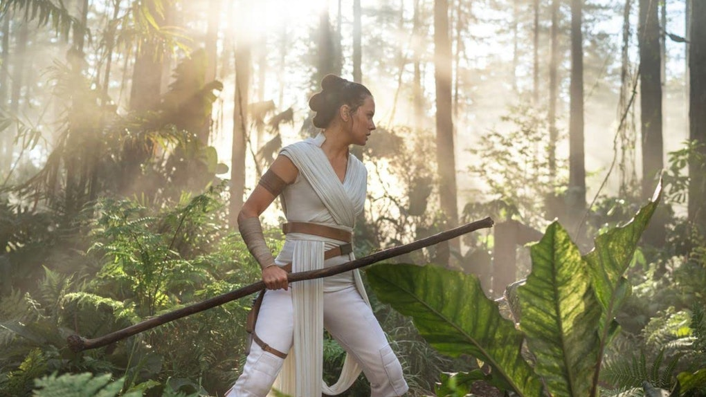 Daisy Ridley, who plays Rey in the 'Star Wars' franchise, walk through a jungle during the final film.
