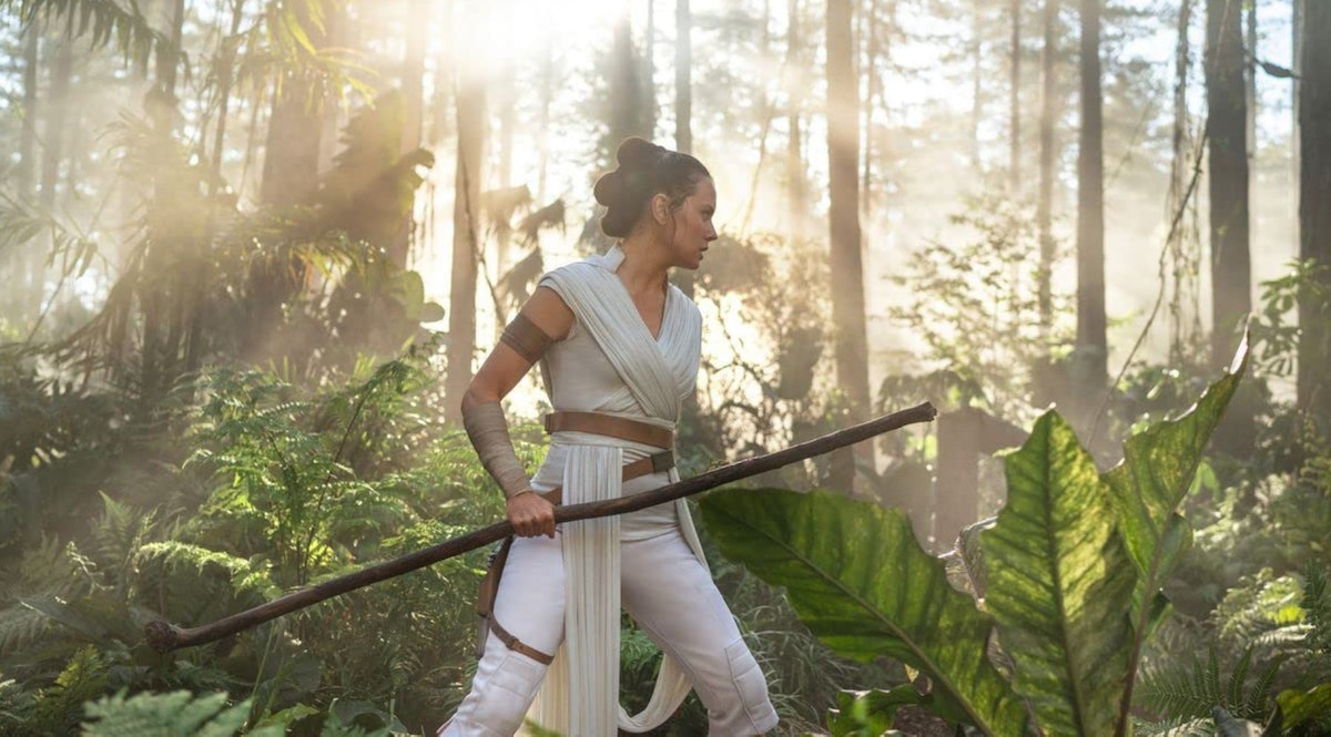 Daisy Ridley, who plays Rey in the 'Star Wars' franchise, walk through a jungle during the final fil...