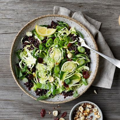 This shredded brussel sprout and rice mix makes for a great warm salad recipe