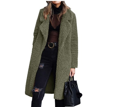 Angashion Women's Fuzzy Fleece Teddy Jacket
