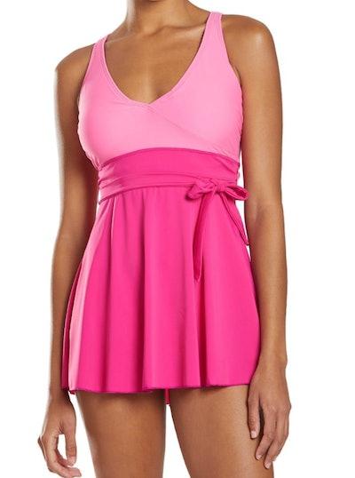 Pink Wrap One Piece Swim Dress
