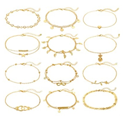 FUNEIA Gold Anklets (12 Pieces)