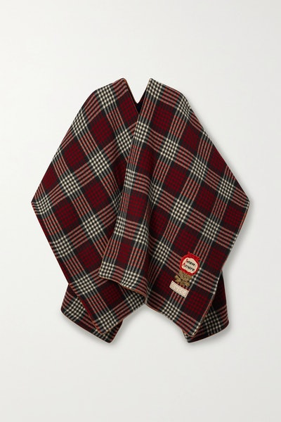 Reversible appliquéd leather-trimmed wool wrap