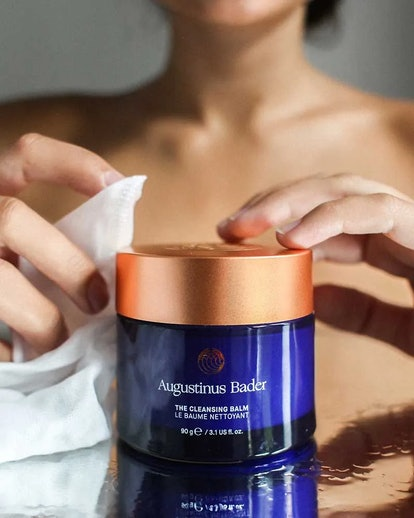 Augustinus Bader's new Cleansing Balm and muslin cloth.