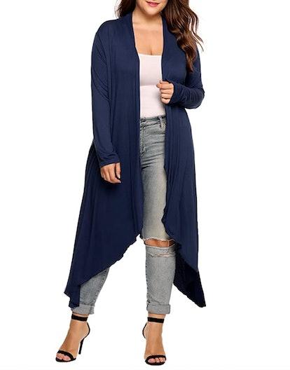 IN'VOLAND Plus-Size Asymmetric Drape Maxi Cardigan