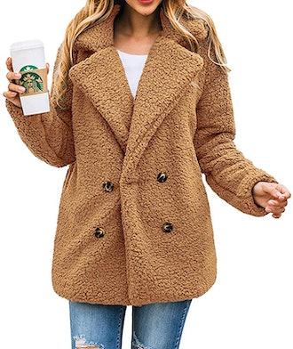 PRETTYGARDEN Lapel Faux Fur Jacket