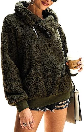KIRUNDO Faux Shearling Shaggy Pullover