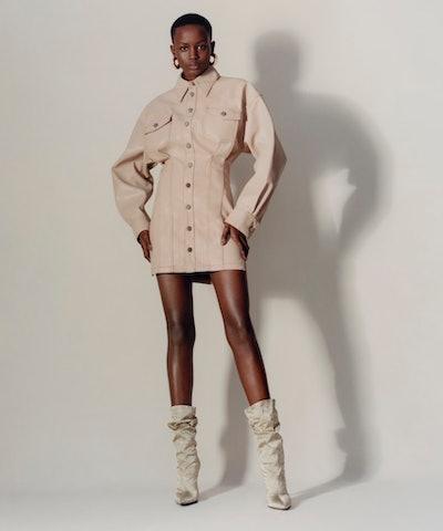 Faux Leather Corset Dress