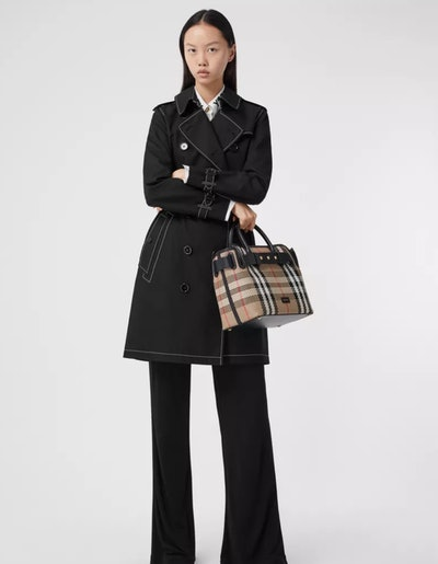Topstitched Tropical Gabardine Trench Coat