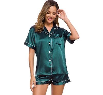SWOMOG Satin Pajama Set