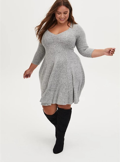 Torrid Super Soft Plush Light Grey Sweetheart Fluted Dress
