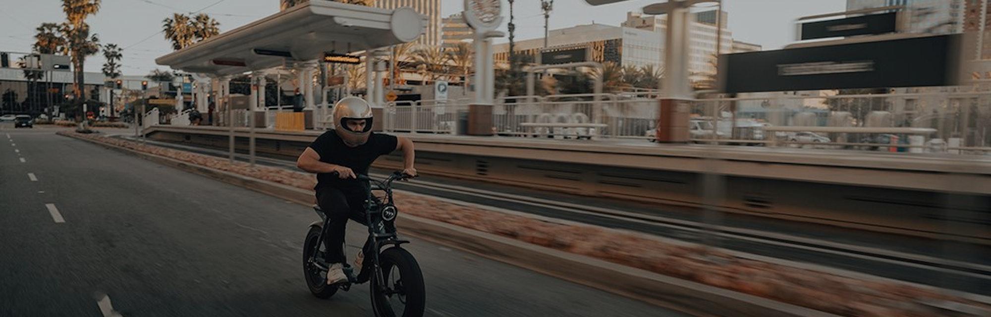 Super73 e-bike riding on a street.