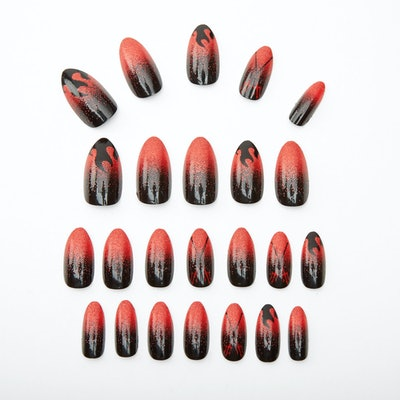 Devil Flames Stiletto Faux Nail Set - Red, 24 Pack