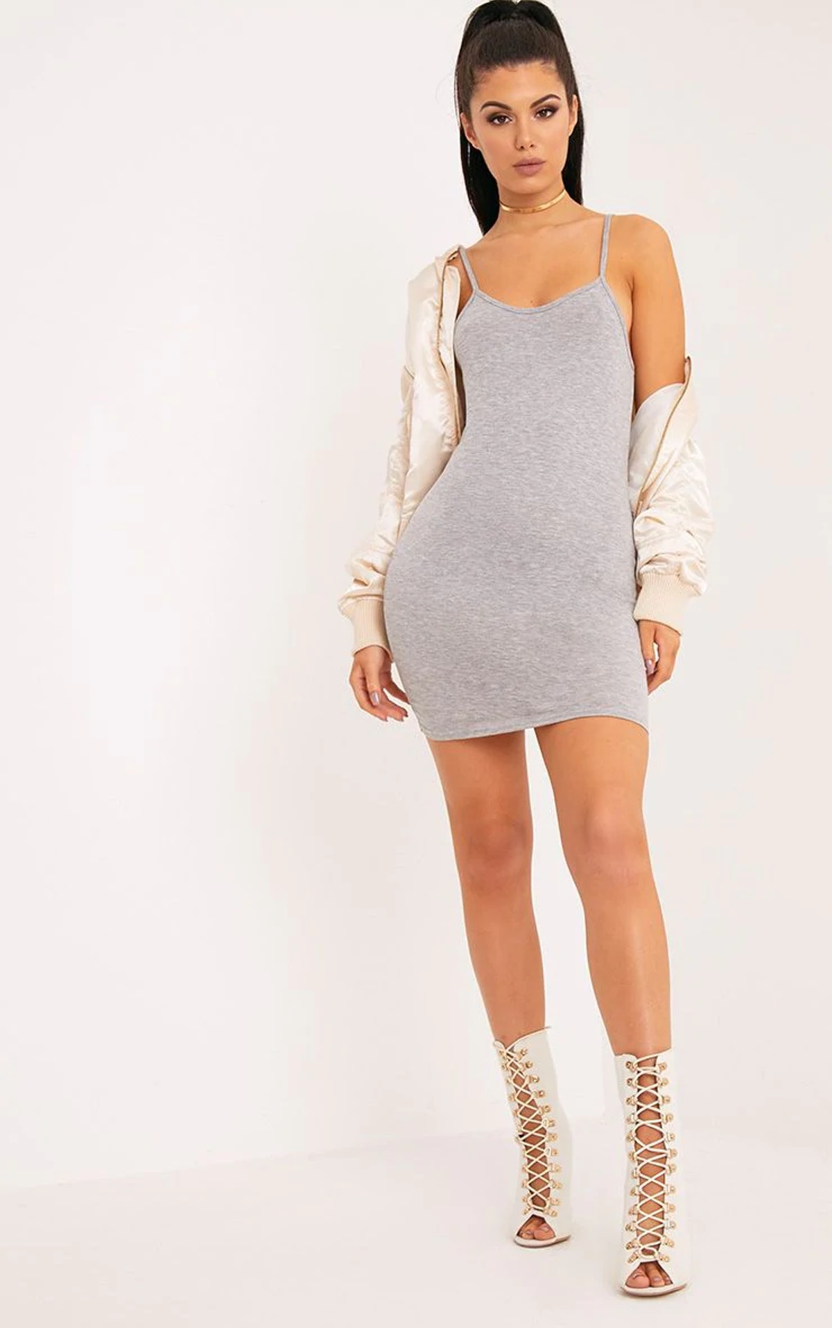 PrettyLittleThing Basic Grey Marl Strappy Scoop Neck Bodycon Dress