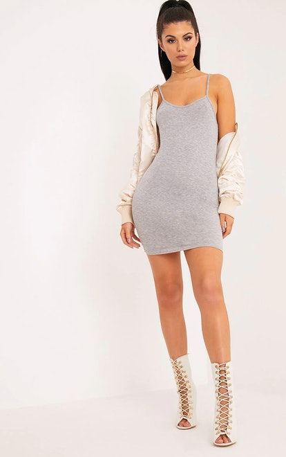 PrettyLittleThing Basic Grey Marl Strappy Scoop Neck Bodycon Dress