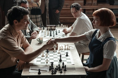 JOY as BETH HARMON and JACOB FORTUNE-LLOYD as TOWNES on 'The Queen's Gambit' via the Netflix press site