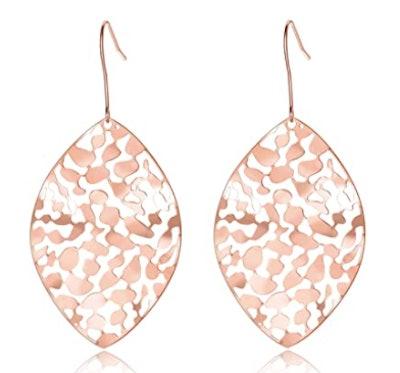 Cyan Birdee Leaf Drop Earrings