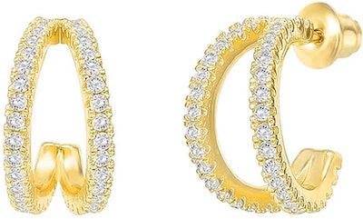 PAVOI 14K Gold-Plated Sterling Silver Split Hoop Earrings