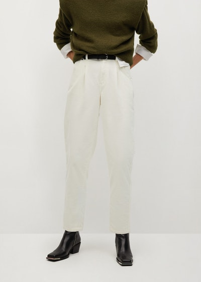 Ecru Corduroy Slouchy Trousers