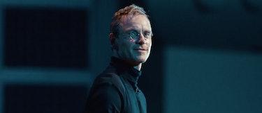 A photo of Michael Fassbender as Steve Jobs.