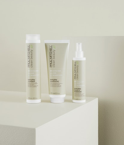 Paul Mitchell Clean Beauty products, including shampoo, conditioner, and leave-in treatment.