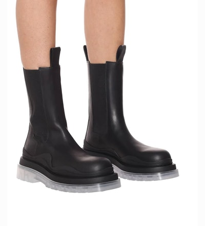 Contrast Leather Chelsea Boots
