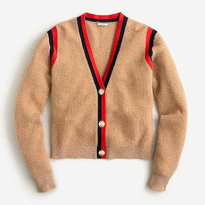 J.Crew Cashmere Waffle-Knit Cardigan Sweater