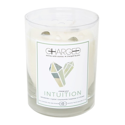 Labradorite Chamomile Scented Soy Candle With Crystals