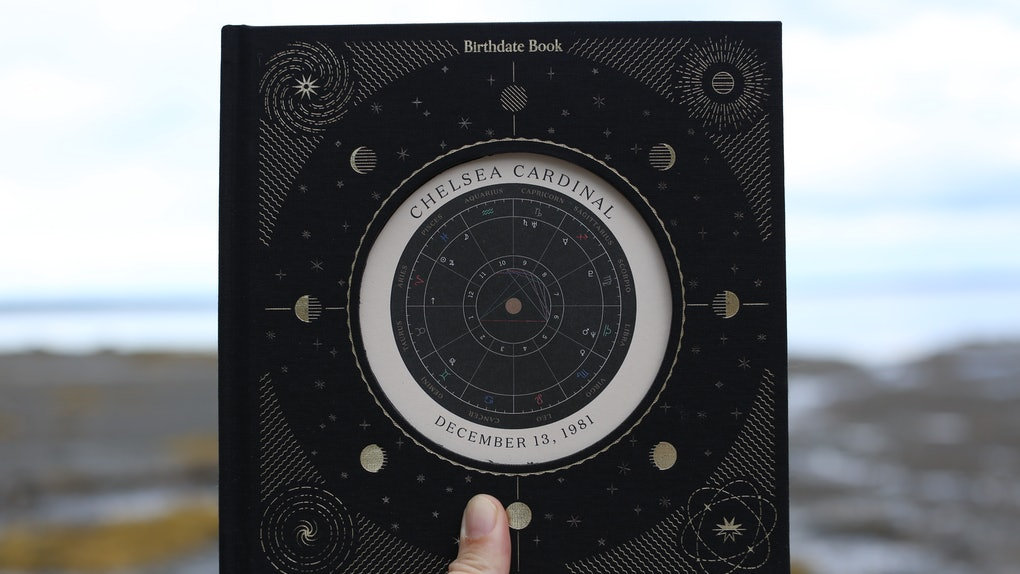 Birthdate Co.'s 'Birthdate Book' has a black hard cover with a shiny astrological illustration on the front.