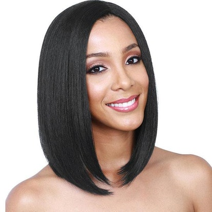 Clorys Women's Synthetic Side Part Straight Short Bob Wig
