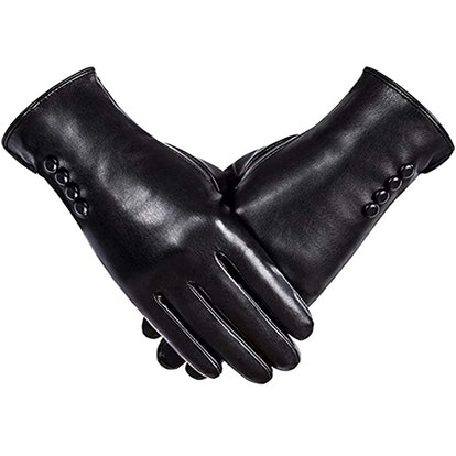 Alepo Faux Leather Gloves With Cashmere Wool Lining