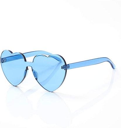 OLINOWL Heart Oversized Rimless Sunglasses