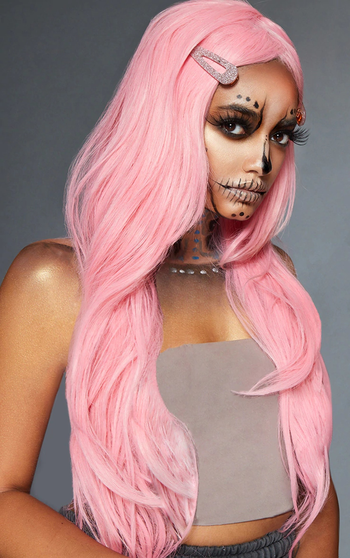 PrettyLittleThing Baby Pink Premium Long Wig