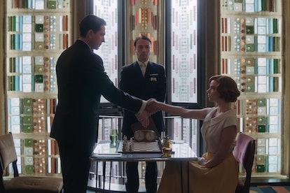 Marcin Dorocinski as Vasily Borgov and Anya Taylor-Joy as Beth Harmon in Netflix's 'The Queen's Gambit,' via the Netflix press site.