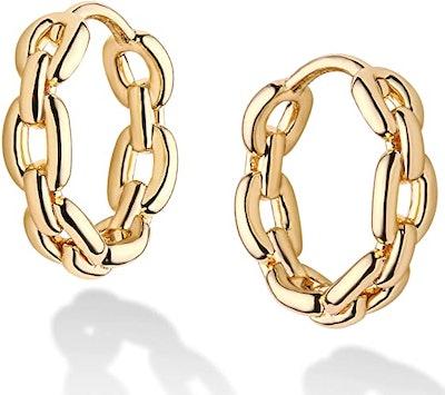 Mevecco 14K Gold Plated Huggie Earrings