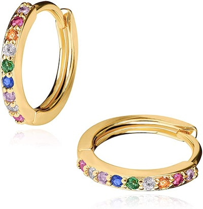 LAVLA 18-Karat Gold-Plated Rainbow Hoop Earrings