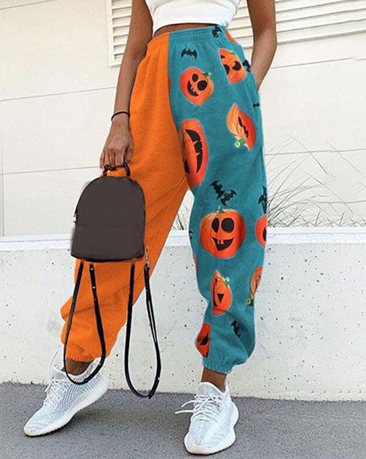 Lovely Erica Colorblock Halloween Pumpkin Print Jogger Pants