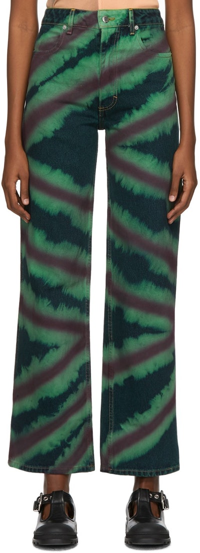 Green & Red Directional Spray Wide Leg Jeans