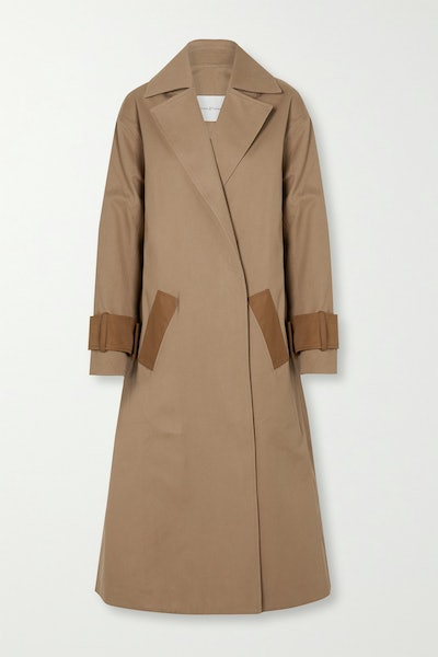 Two-Tone Cotton-Drill Trench Coat