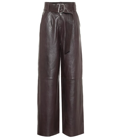 Jenna High-Rise Wide-Leg Leather Pants