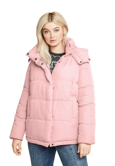 Plus Size Short Hooded Puffer Coat