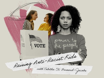 "Raising Anti Racist kids columnist Tabitha St. Bernard-Jacobs is pictured with those words, along with a photo of a white mom and her daughter, and a ""vote"" sign."