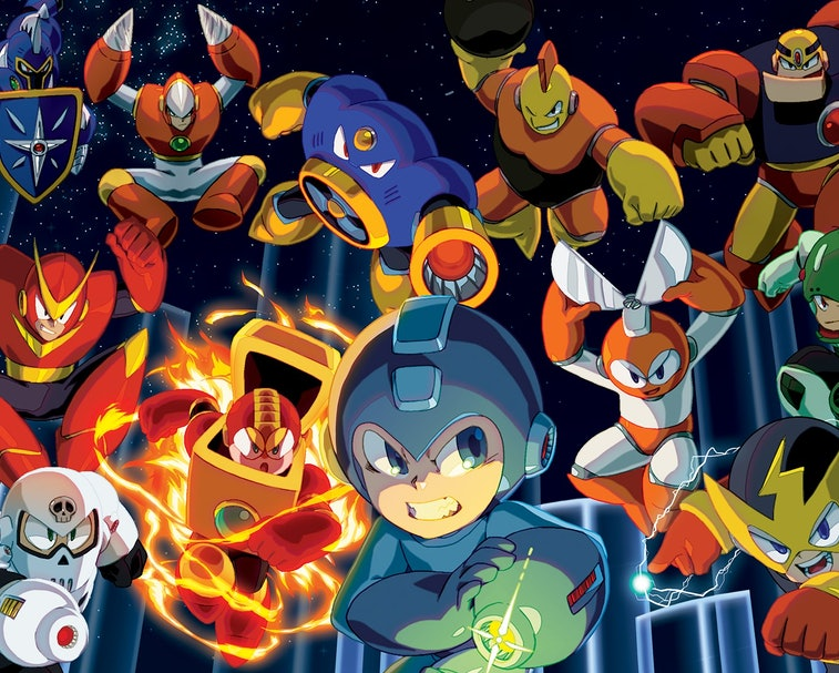 A collage of Mega Man characters.